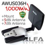 Alfa AWUS036H 1000mW + Y Cable + Directional Antenna + Mount + Clip